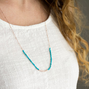 Turquoise and rose gold fill bohemian necklace design