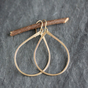 Teardrop Dangle Earrings With Delicate Hammer Texture