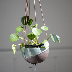 Mini Plant Hanger in Copper and Grey Cotton