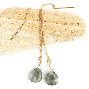 Moss Aquamarine Threader Earrings