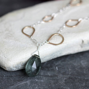 Moss Aquamarine Teardrop Necklace