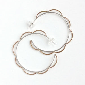 Scalloped Post Hoop Earrings