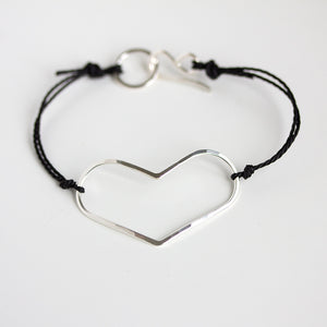 Wide Heart Bracelet on Cord