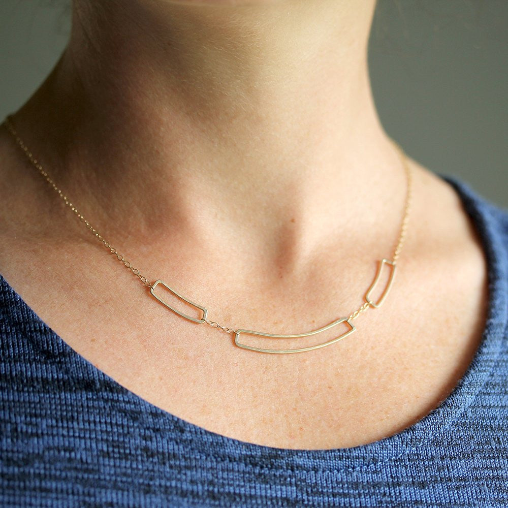 Semna Necklace - Graceful Geometric Necklace, Great For Layering or Alone