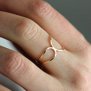 North Sea Ring - Modern Double Curve Band in 14k Gold Fill or Sterling Silver