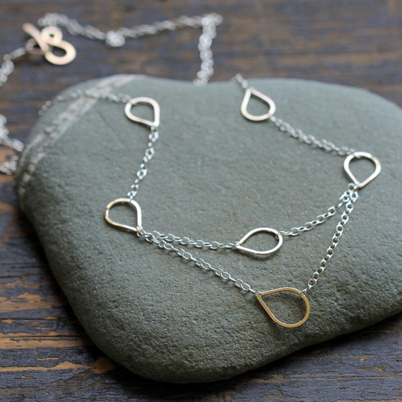 Cassiopeia Necklace - Multiple Layered Dew Drops on Fine Chain