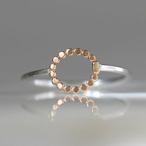 Dotted Circle Ring In 14k Gold and Sterling Silver, Geometric Boho Stacking Ring