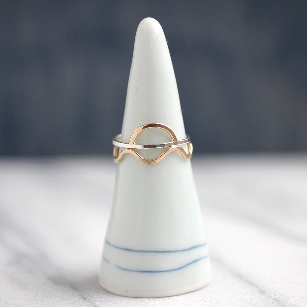 Seaside Stacking Ring Set, 1 Sunrise and 1 Wave Ring, For Beach Lovers and Sun Worshippers