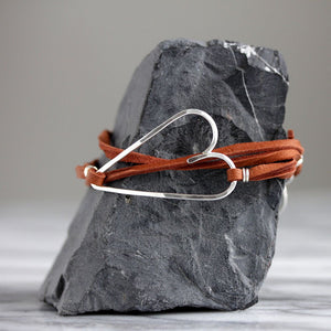 Share the Love Heart Wrap Bracelet on Red Cotton or Warm Brown Suede