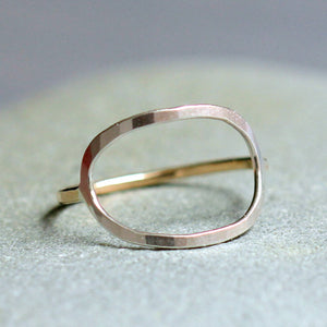 Ovale Ring - Handmade Open Oval Ring, Simple Geometric Ring