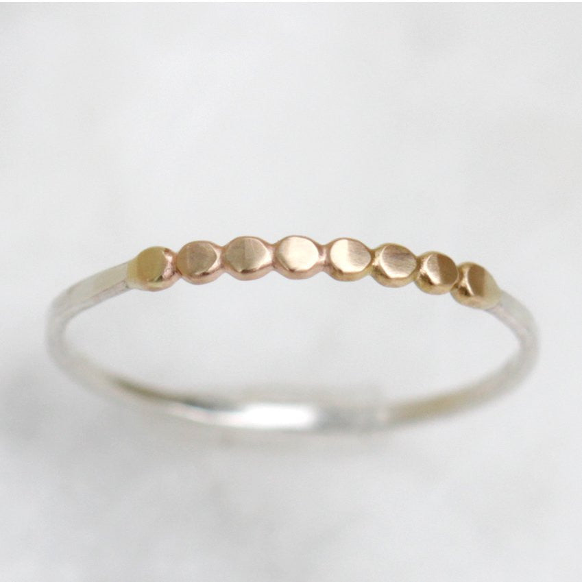 Demi-Orbit Band - Textured Mixed Metal Stacking RIng with Hammered 14k Beaded Wire Center