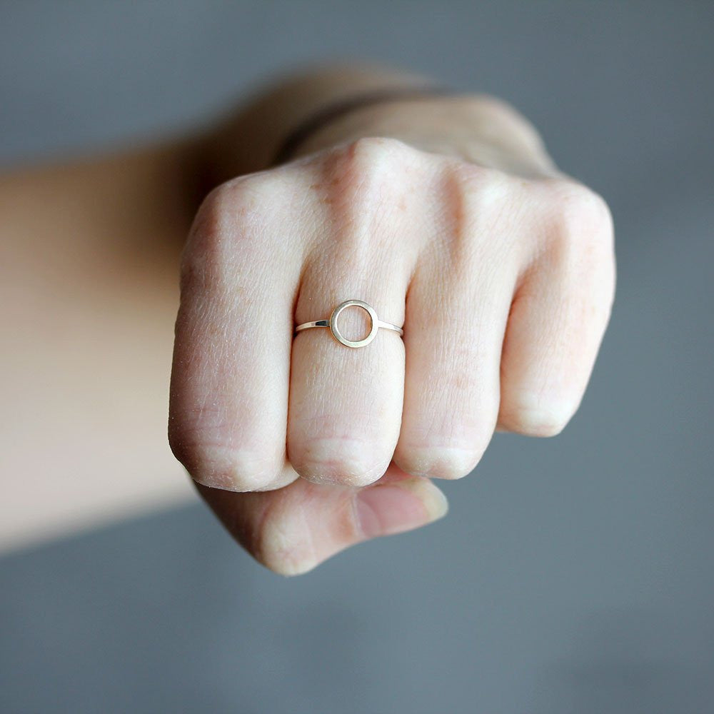 Io Ring - Delicate 14k Yellow or Rose Gold Circle With Sterling SIlver Band