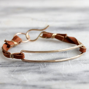 Talus Bracelet, Simple Boho Hammered Narrow Rectangle on Leather Lace