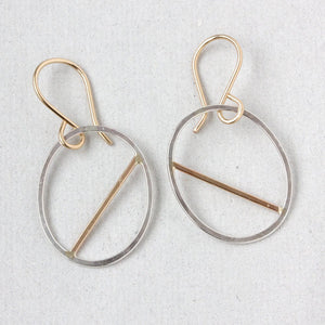 Shield Earrings, Modern Geometric Hammered Oval Dangles with a Asymmetrical Straight Line Detail
