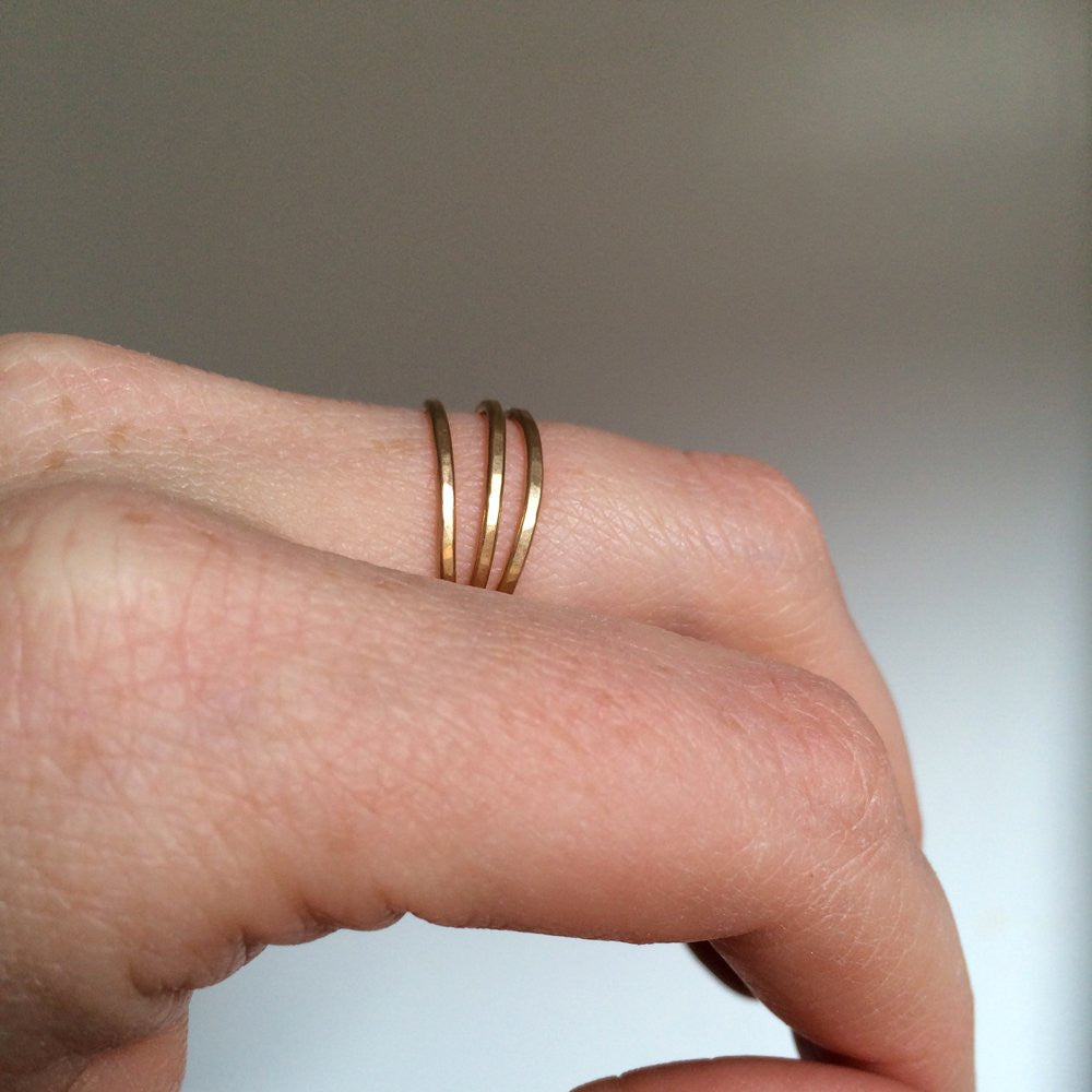 da66e5f2c Triple Wrap Ring - Hammered Multi Band Ring in Sterling Silver or 14k Gold  Fill