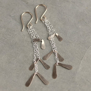 Samara Earrings - Quivering Chevron Focal Points on Simple Chain