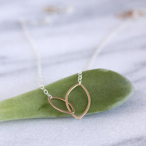 Tea Leaves Necklace - Tiny Linked Ellipses on a Delicate Chain