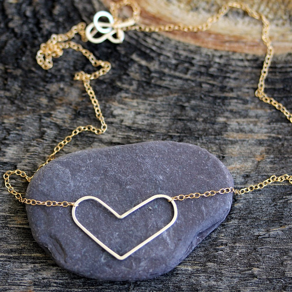 Simple Heart Necklace - Delicate Handmade Geometric Heart Pendant on Chain