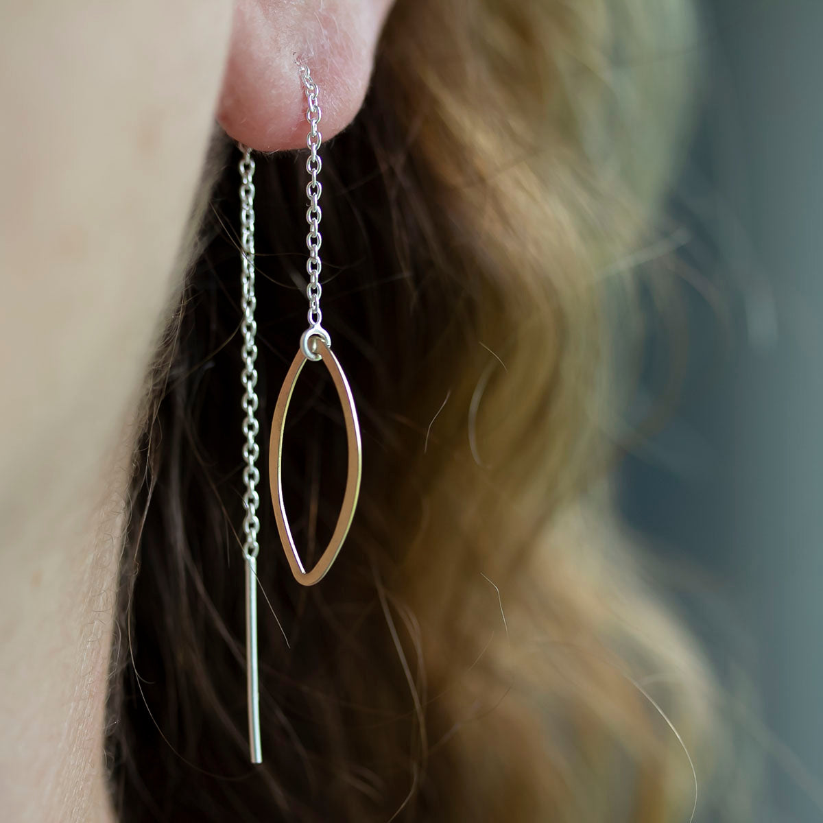 f891f429c Ellipse and Chain Threader Earrings