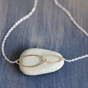 Kina Necklace - Geometric Minimalist Necklace with Asymmetrical Linked Ellipses on Delicate Chain