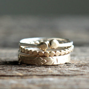 Emily 14k Yellow Gold Floral Pattern Ring, Boho Wedding Band or Stacking Ring