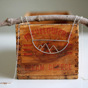 Telluride Necklace Mountain Pendant On Vintage Wooden Box
