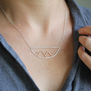Telluride Necklace Mountain Silhouette Pendant in Mixed Metal