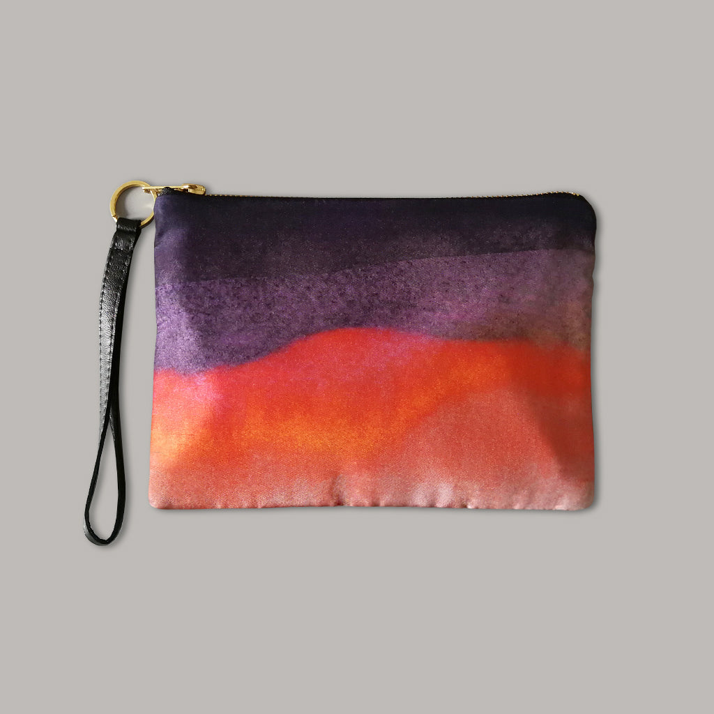 Dusk Silk and Leather Wristlet