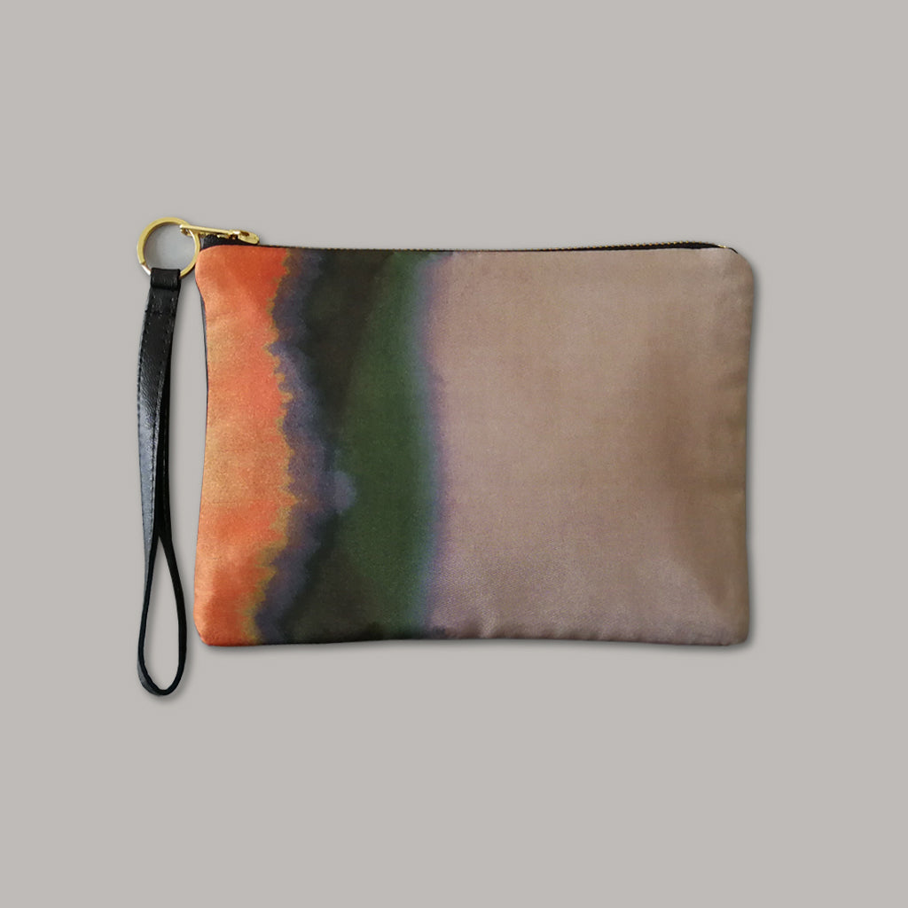 Strata Silk and Leather Wristlet