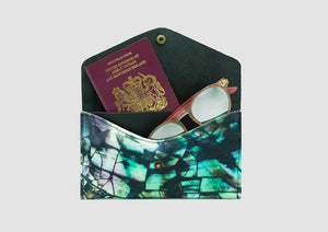 Leather passport holder with shell design