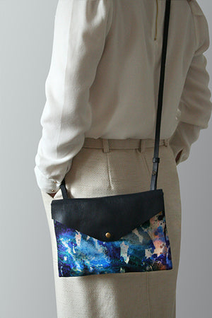 Blue leather cross body bag by Samantha Warren