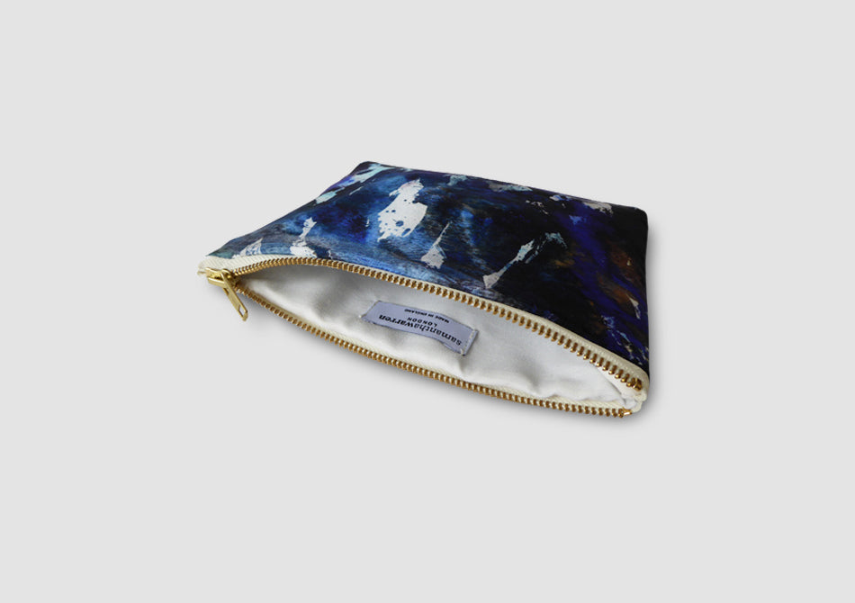 Blue printed clutch bag Samantha Warren