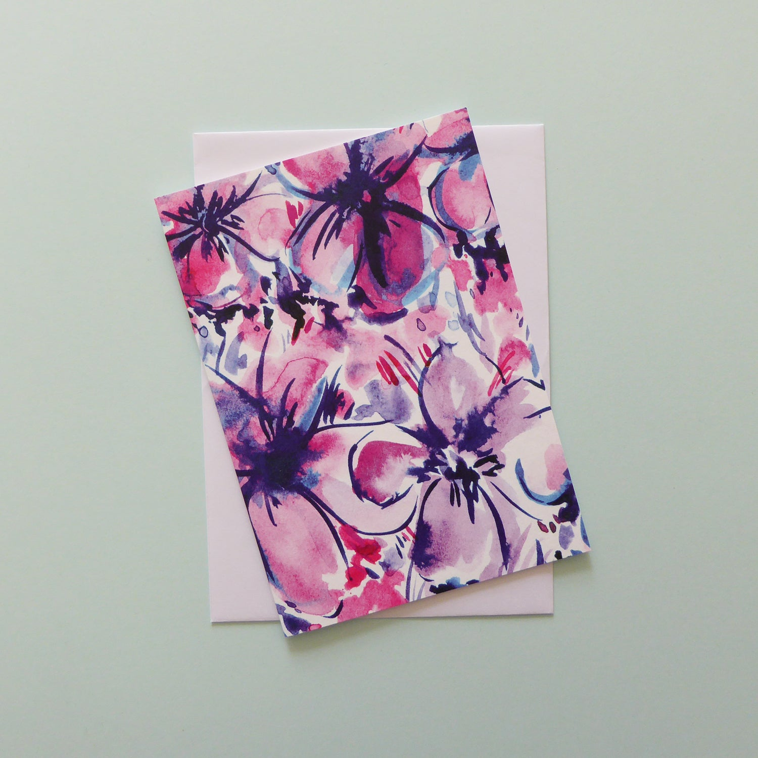 Pink and purple floral card