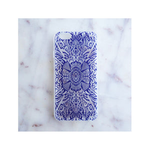 Blue ornate patterned phone case, Samantha Warren
