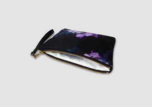 purple bag with feather print