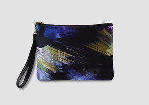 electric blue bag with feather print