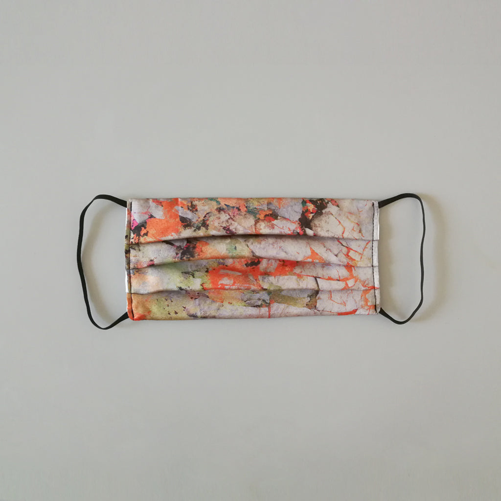 Silk Face Mask - Abstract Orange Print