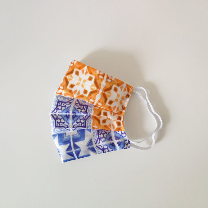 Silk Face Mask - Tile Print