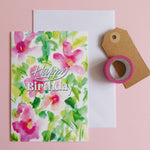 Pink Floral Birthday Card - Samantha Warren