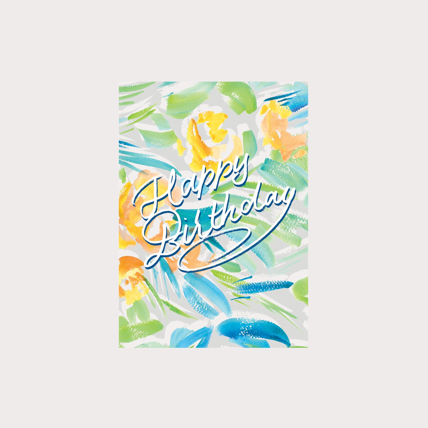 Yellow Floral Happy Birthday Card
