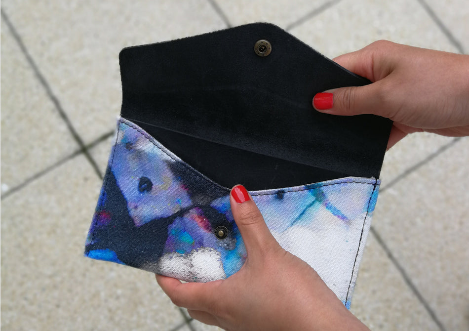 Printed wallet with leather detail by Samantha Warren