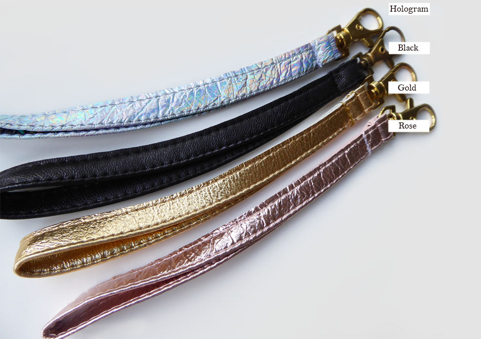 Coloured leather wrist straps for bags