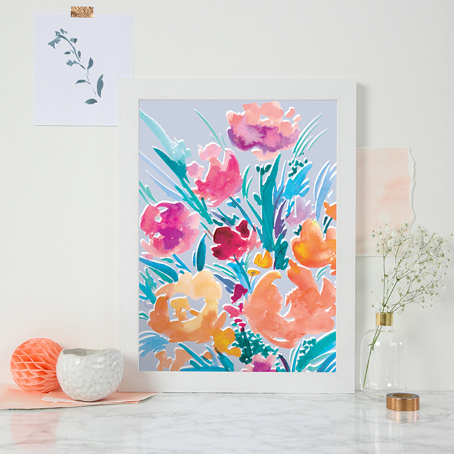 Light Blue Bloom Print