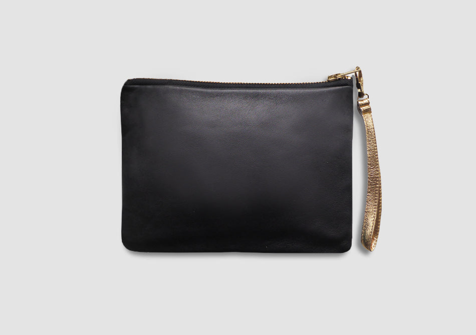 Shanghai Silk and Leather Wristlet