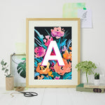 Personalised Initial Navy Floral Print