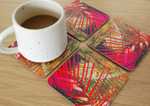 Coasters with pink palm print Samantha Warren