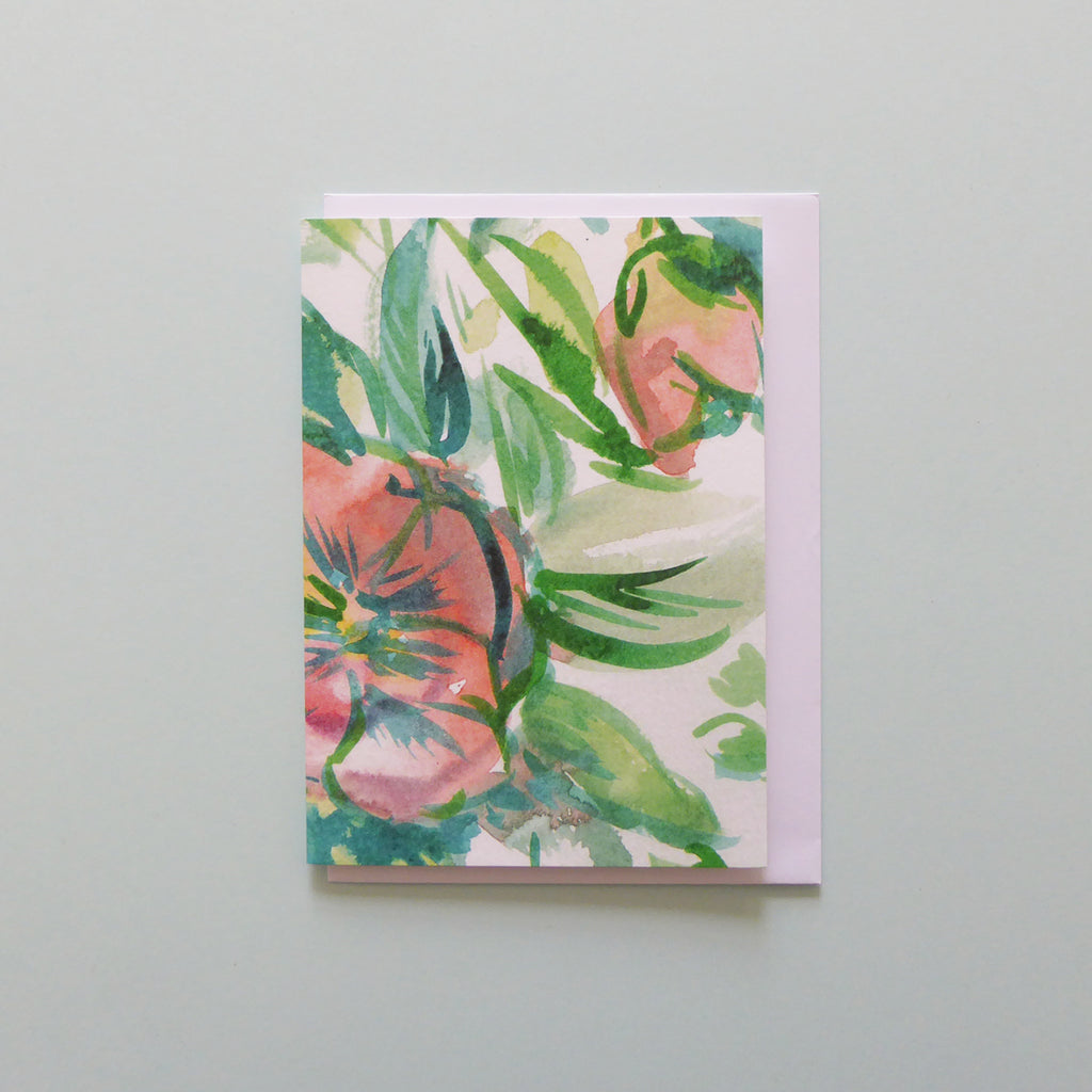 Green and pink floral greeting card Samantha Warren