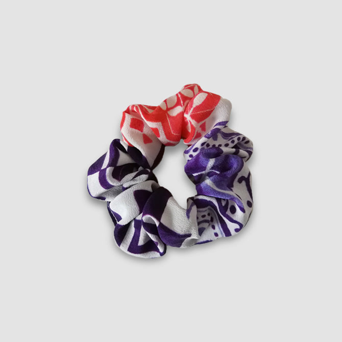 Red and Purple Silk Scrunchie