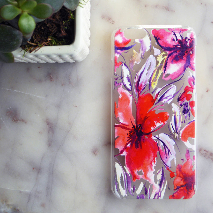 Red Floral Phone Case