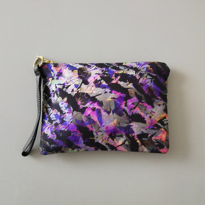 Sadie Silk and Leather Wristlet